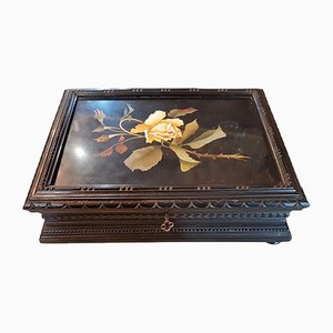 19th Century Italian Hard Stone and Blackened Wood Inlaid Box