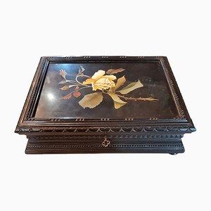Italienische Hartsteinbox aus geschwärztem Holz mit Intarsien, 19. Jh