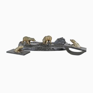 Art Deco Bronze Polar Bear Office Set, 1930s