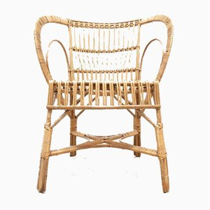 Mid-Century Bamboo Cane & Wicker Armchair