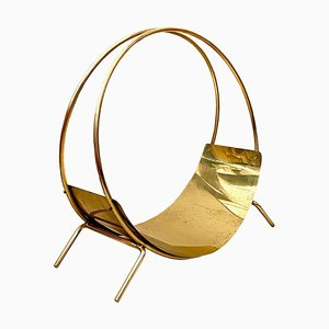 Large Italian Brass Magazine Rack, 1970s