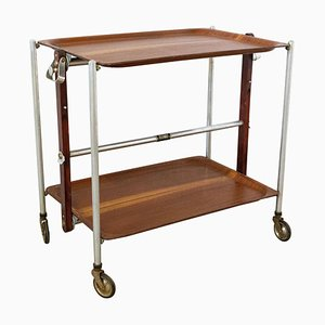 Mahogany Folding Bar Cart for Textable, 1950s
