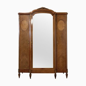 French Louis XVI Elm Burl Mirror Door Armoire, 1900s
