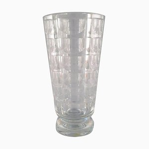 Art Deco Thousand Windows Vase in Satin-Cut Glass by Simon Gate for Orrefors, 1950s