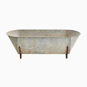 Large Vintage Galvanised Bath Trough Planter, 1950s