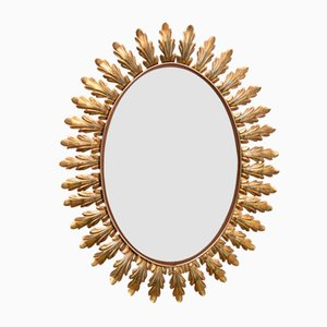 Belgian Brass Leaf Oval Mirror from Deknudt, 1950s
