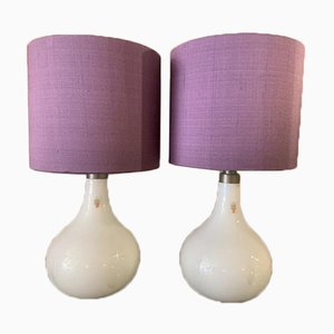 Danish White Helios Table Lamps from Holmegaard, 1980s, Set of 2