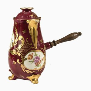 Antike Französische Keramik Teekanne mit Holzgriff von Limoges
