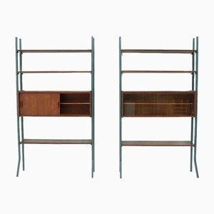 Teak Freestanding Bookcase Wall Units, 1960s, Set of 2