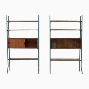 Teak Freestanding Bookcase Wall Units, 1960s, Set of 2
