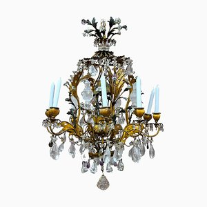 Vintage Rock Crystal and Amethyst Pagoda Chandelier
