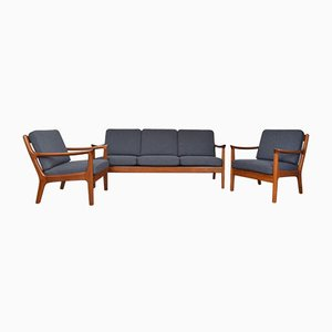 Mid-Century Danish Teak Living Room Set by Juul Kristensen, 1960s, Set of 3