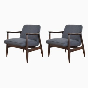 Mid-Century Lounge Chairs by J. Kędziorek, 1960s, Set of 2