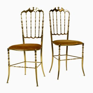 Brass Chiavari Dining Chairs by Giuseppe Gaetano Descalzi, 1960s, Set of 2