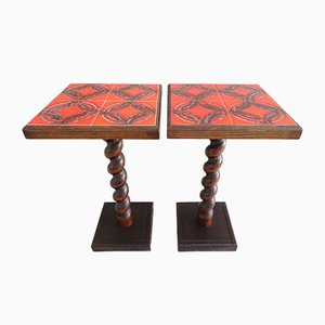 Mid-Century Tiled Plant Stands, 1960s, Set of 2