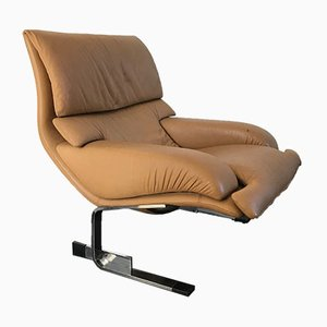 Vintage Leather Lounge Chair by Giovanni Offredi for Saporiti Italia, 1970s