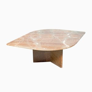 Italian Brutalist Travertine Marble Coffee Table, 1970s