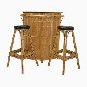 Vintage Rattan Bamboo Tiki Cocktail Bar & Stools, 1966, Set of 3