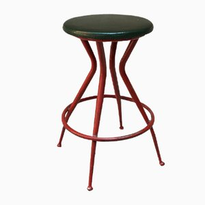 Italian Red Metal Stool with Green Skai, 1950s