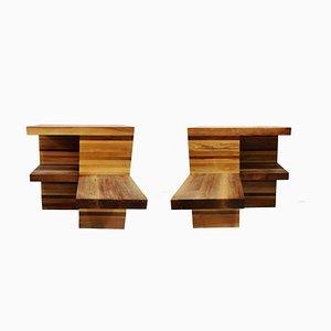 Große brutalistische Nachttische aus Holz, 1970er, 2er Set