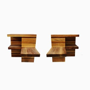 Large Brutalist Wooden Nightstands, 1970s, Set of 2