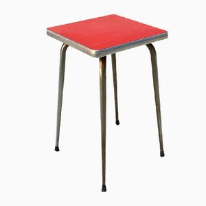 Italian Red Formica Stools with Squared Seats, 1950s, Set of 2