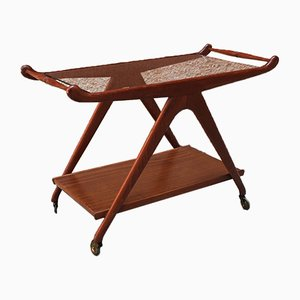 Walnut Bar Trolley with 2 Shelves in Wood and Glass, 1950s