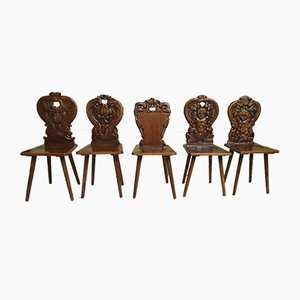 Antique Chalet Chairs with Dragon and Grimace Motifs, Set of 5