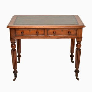 Antique Victorian Mahogany & Leather Writing Table Desk