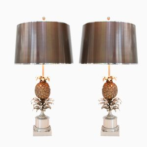 French Pineapple Table Lamps by Maison Charles, Set of 2