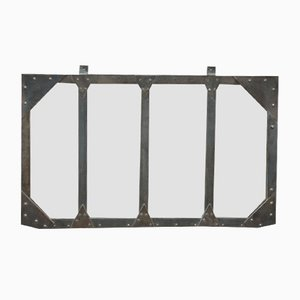 Industrial Riveted Steel Window Mirror, 1930s
