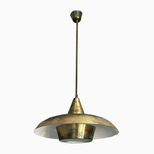Finnish Brass Pendant Lamp from Valinte Oy, 1954