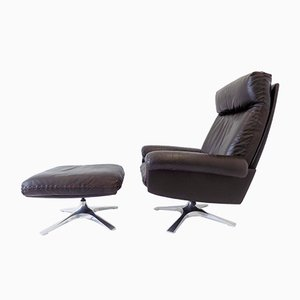 Brown Leather DS 31 Lounge Chair & Ottoman from de Sede, 1960s, Set of 2
