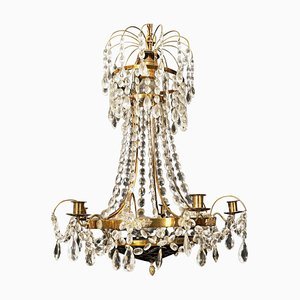 Gustavian Style Chandelier with Red Crystal Bowl with Floral Pattern