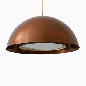 Mid-Century Modern Danish Flamed Copper Pendan Lamp, 1960s
