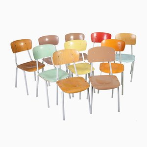 Mid-Century Czechoslovakian Industrial School Chairs, 1960s, Set of 10