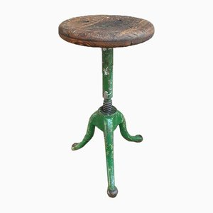Cast Iron and Oak Swivel Stool, 1930s