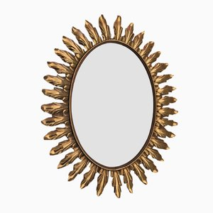 Large Mid-Century Golden Oval Mirror from Deknudt, 1950s