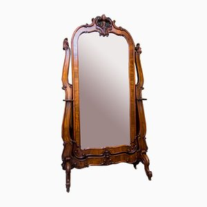 Large Antique Russian Rococo Style Full-Length Walnut Cheval Mirror