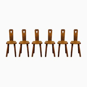 Brutalist Dining Chairs, 1950s, Set of 6