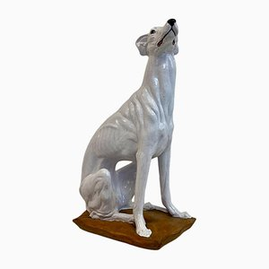 Mid-Century Life Size Italian Glazed Terracotta Greyhound Dog, 1960s