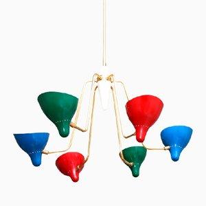 Lámpara de araña italiana de latón, años 50