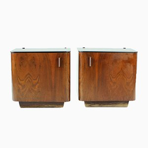 Bedside Tables in Walnut Veneer, Czechoslovakia, 1930s, Set of 2