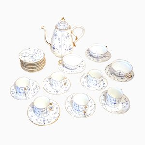 Antique Scandinavian Hand-Painted Porcelain Service with Golden Rim, Set of 24