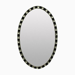 Irish Crystal and Black Glass Studded Mirror, 1970s