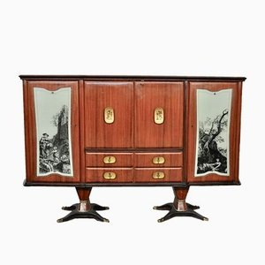 Mahogany Pear Tree, Brass & Glass Top Drawers Sideboard with Allegorical Drawings & Internal Lightning from F.lli Rigamonti Desio, Milano, 1940s