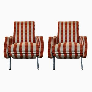 Mid-Century Reclining Armchairs with Footrests, Italy, Set of 2