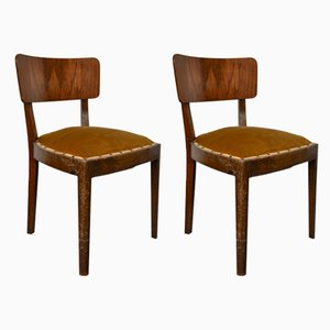 Vintage Walnut Chairs with Studs & Straps and Springs in Velvet, Italy, 1920s, Set of 2