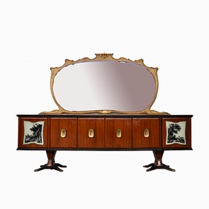 Mahogany, Pearwood, Brass & Marbled Back-Lacquered Glass Top Sideboard with Mirror by Paolo Buffa, Italy, 1940s
