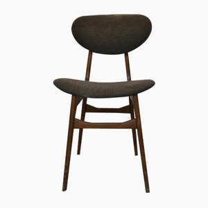 Mid-Century Ash Dining Chairs with Mocha Wool Upholstery, Italy, 1960s, Set of 5
